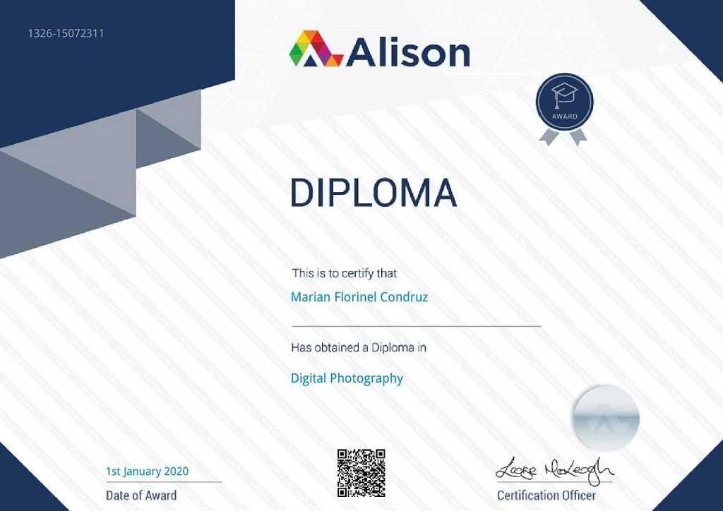 Alison Diploma in Digital Photography for Marian Florinel Condruz