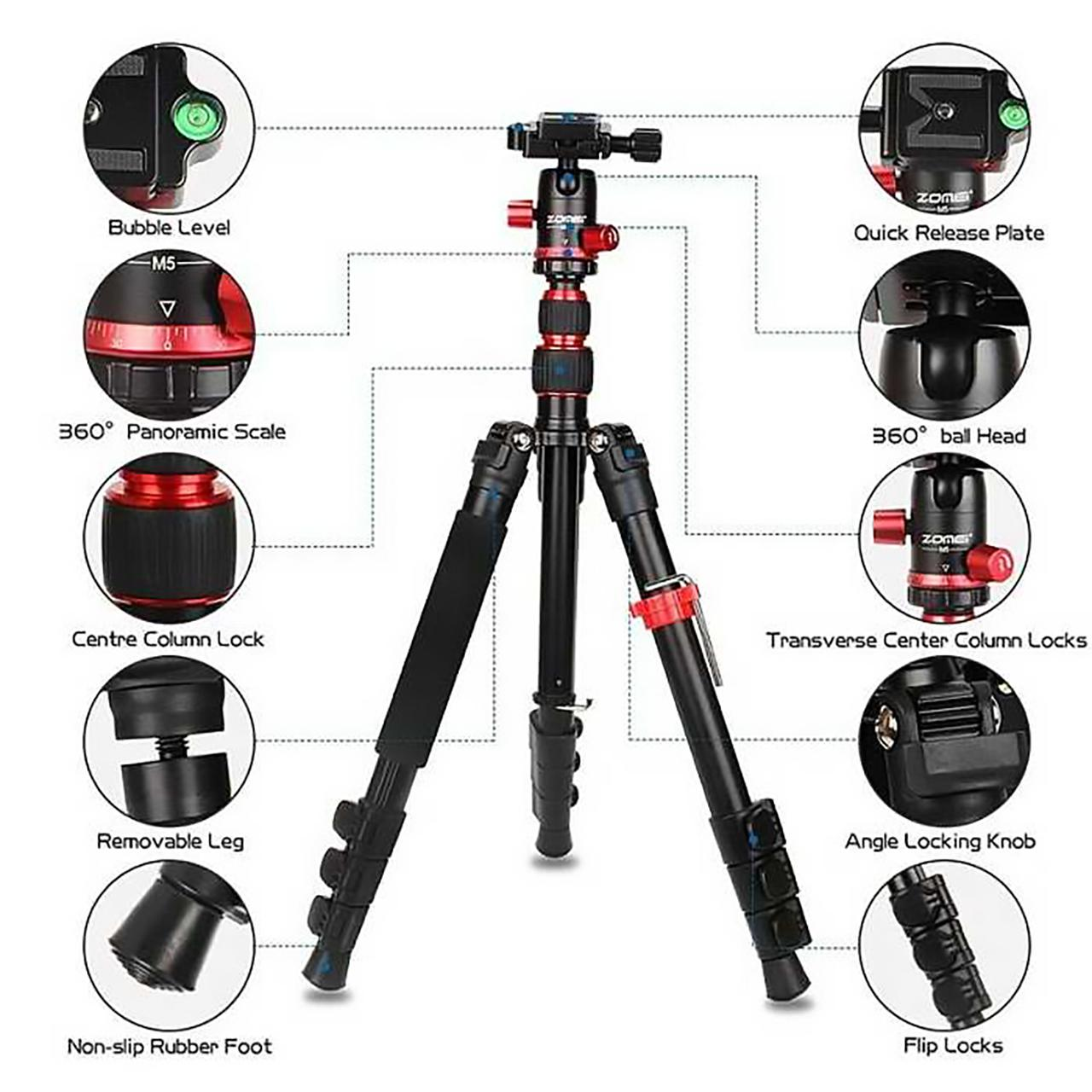 Zomei M5 tripod details and features