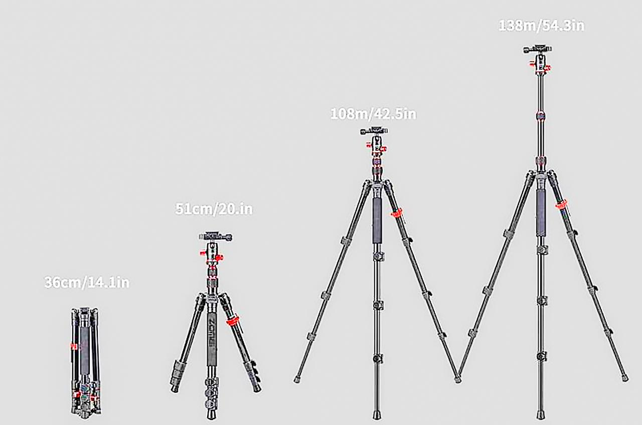 Zomei M5 tripod heights