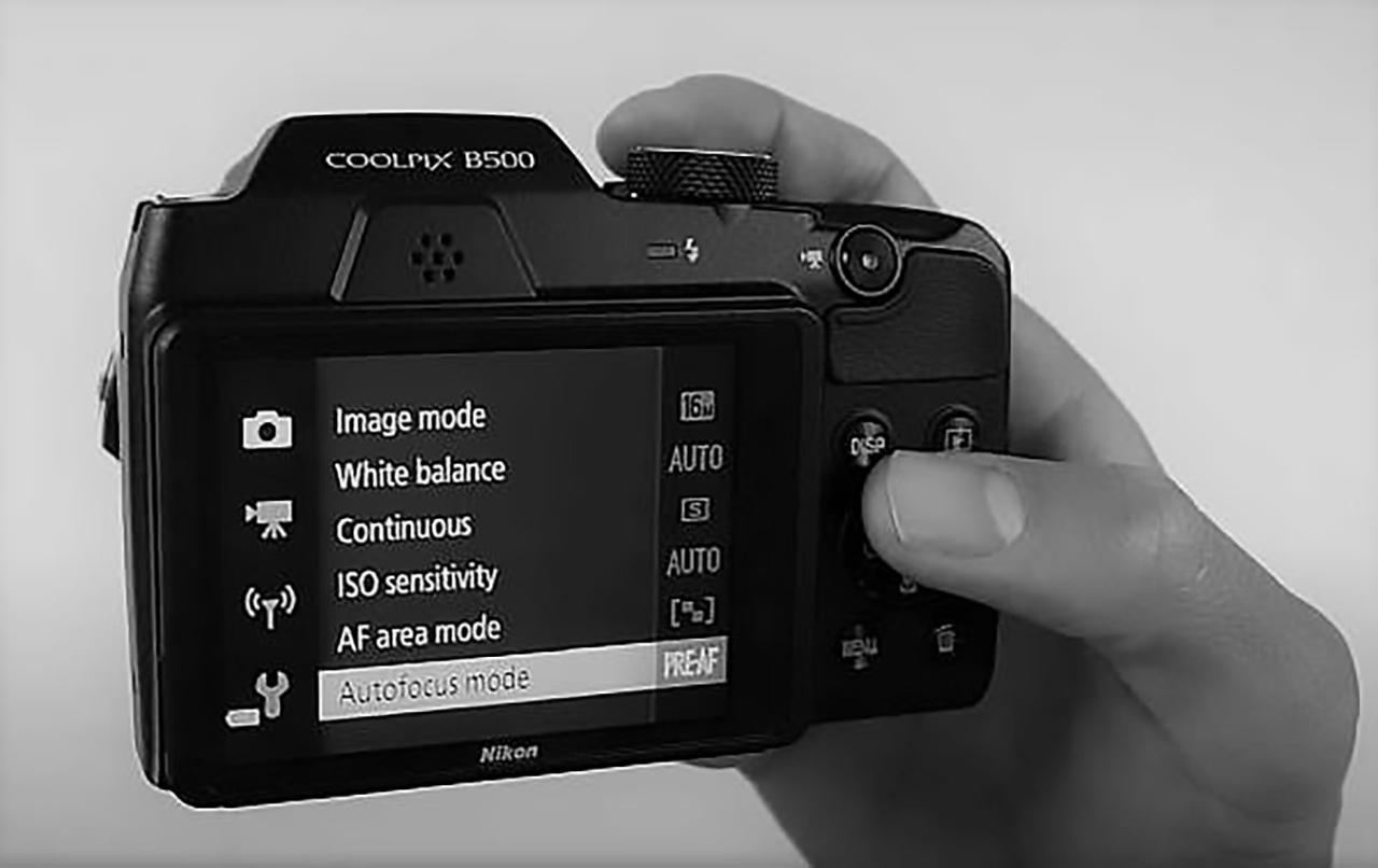 Nikon B500 camera settings