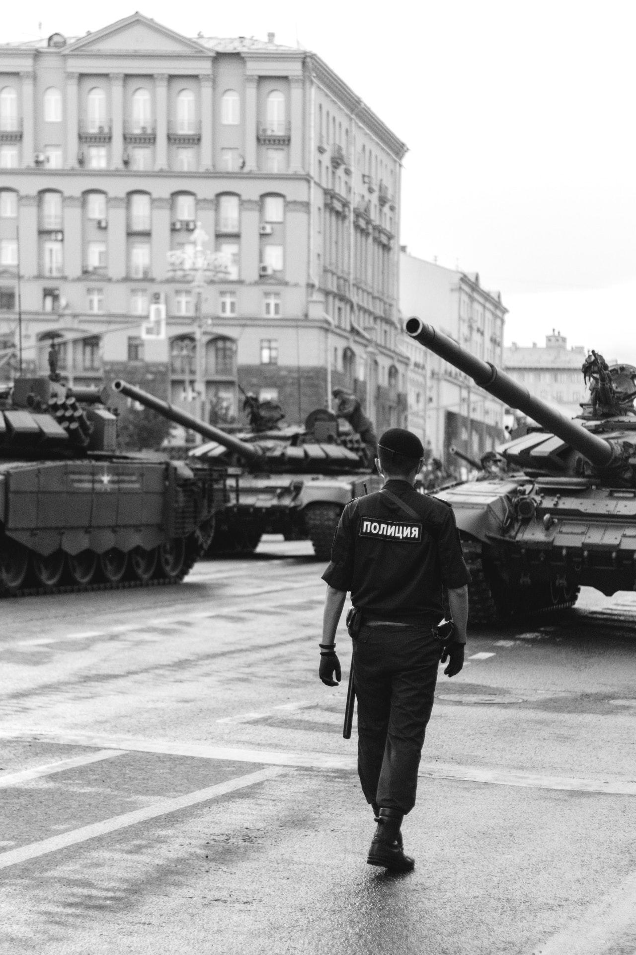 Tanks in the city square