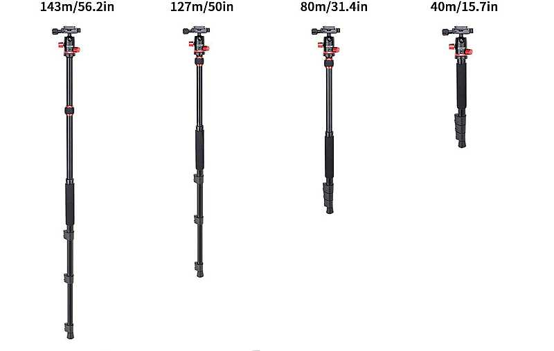 Zomei M5 monopod height