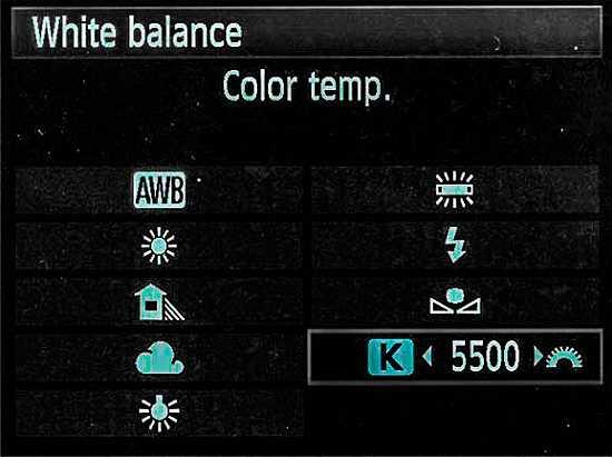 Setting the Kelvin value for the white balance