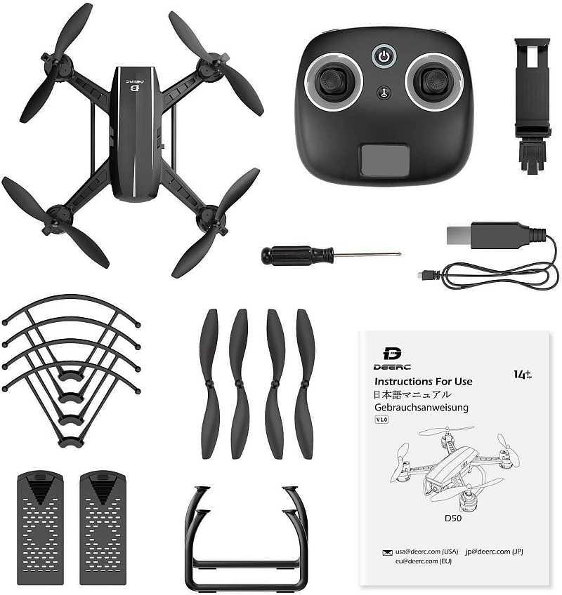 deerc d50 drone box content