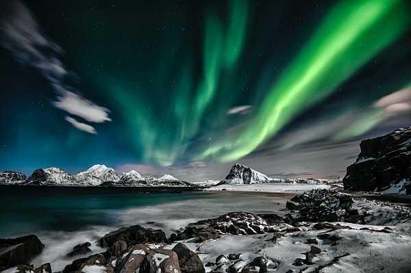 urora Borealis in winter mountains landscape