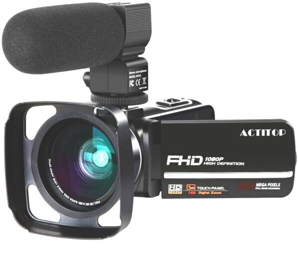 ACTITOP Camcorder FHD 1080P 24MP IR Night Vision overview