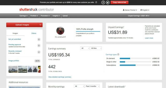 Shutterstock account overview