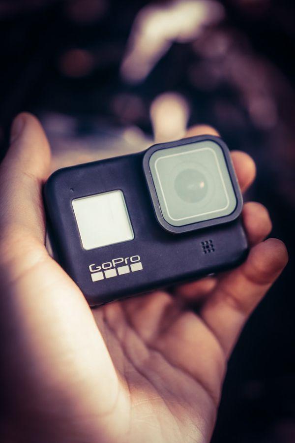 GoPro camera in hand