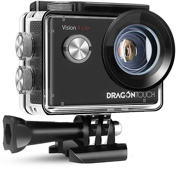 Dragon Touch 4K Action Camera in waterproof case
