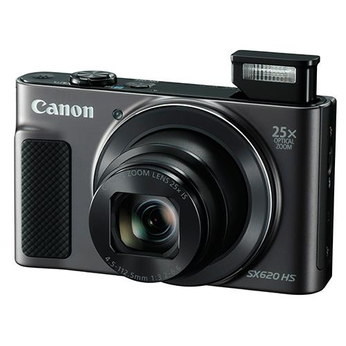 Canon PowerShot SX620 with flash opened
