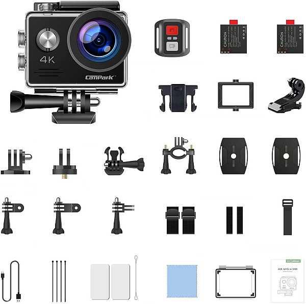 Campark X5 4K 20MP accessories kit