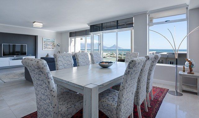 modern dining room indoor photo