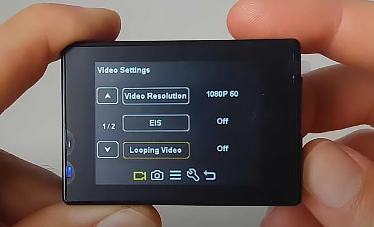 Campark X5 video settings