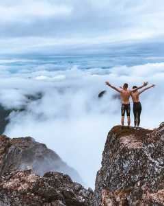 Couple enjoying mountain scenery