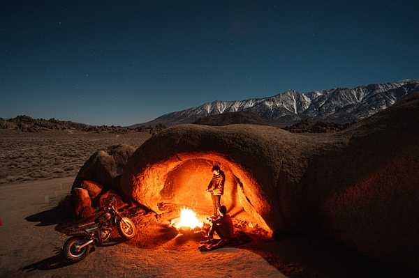 Fire camp in the night