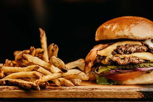 Food photography with burger meal