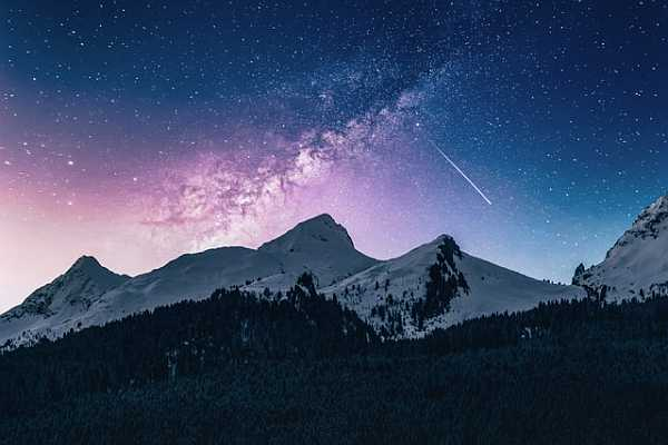 Mountain scenery in winter night
