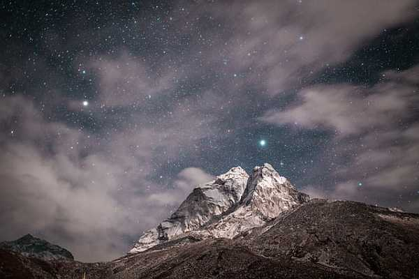 Mountains scenery in the night astrophotography