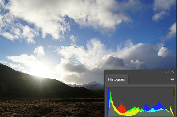 Scotland mountains scenery against sun with histogram
