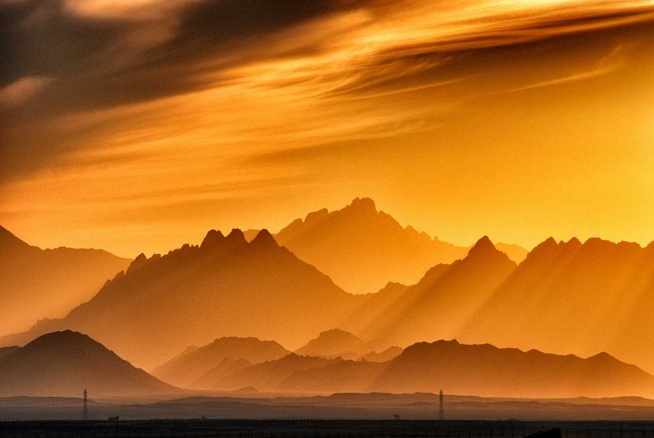 Blur mountains at the golden hour