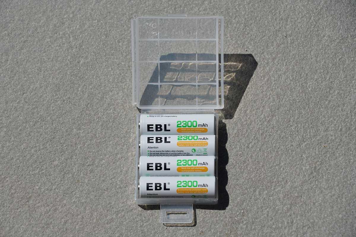 EBL AA batteries in storage case