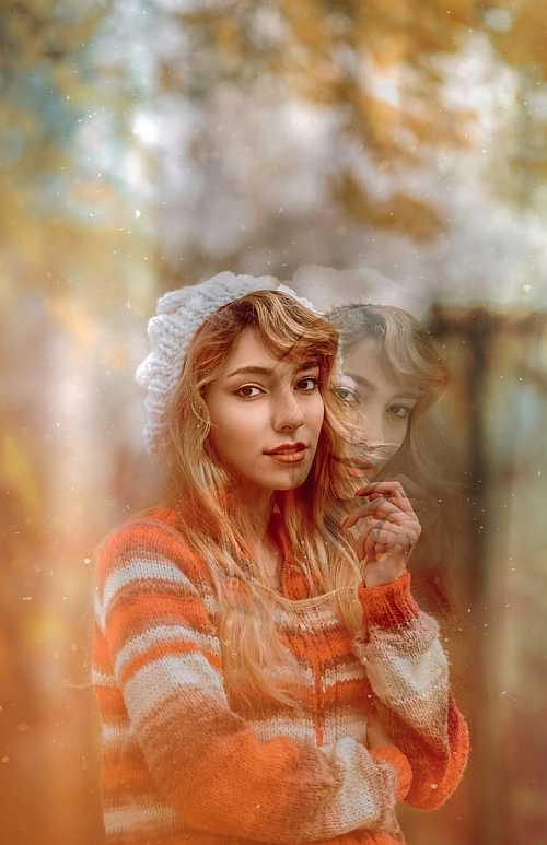 Girl portrait double exposure