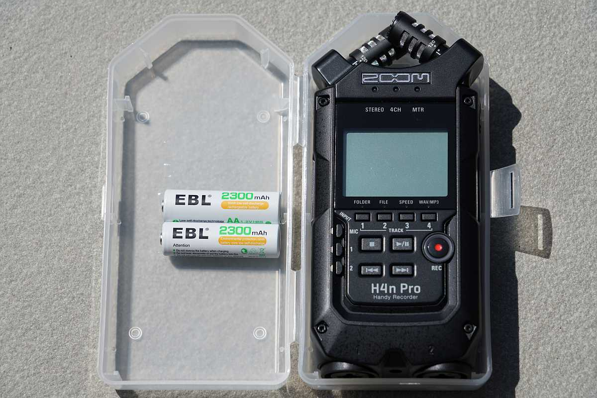 Zoom H4n Pro in case with AA batteries