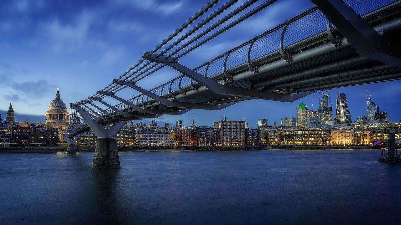 Blue hour image with London city center