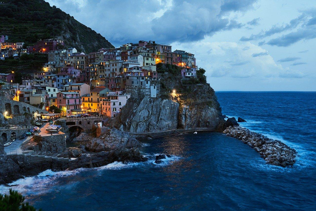 Blue hour in Italy shore city