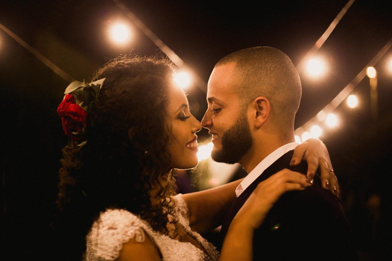 Bride smiling at her man