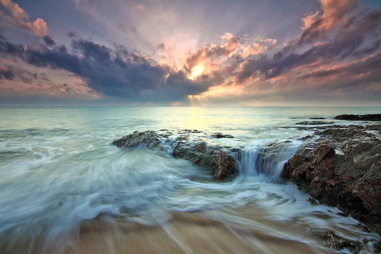 Sea waves long exposure photography