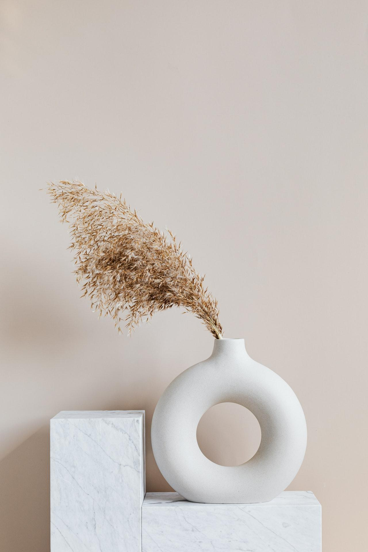 Vase with dry sere herbs