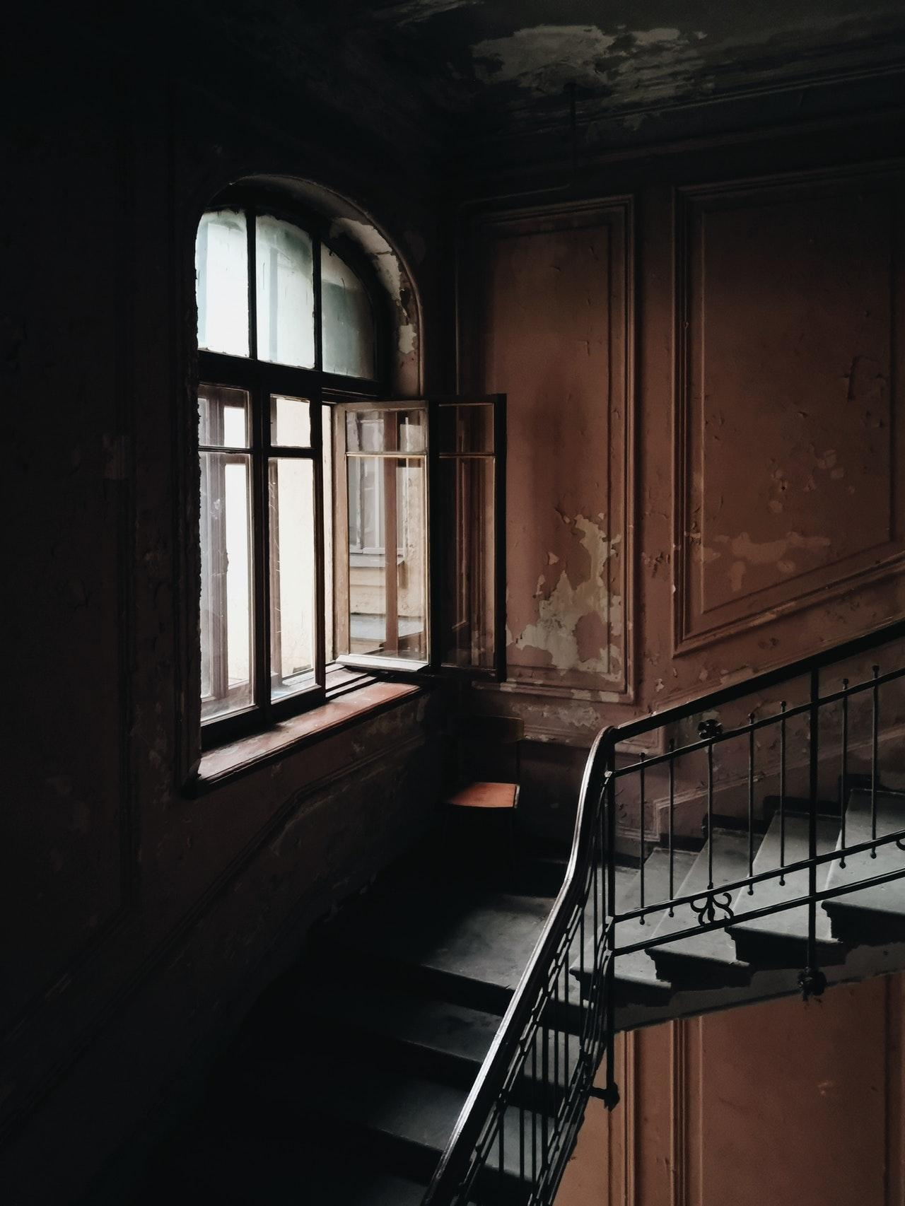 Stairs in abandoned building