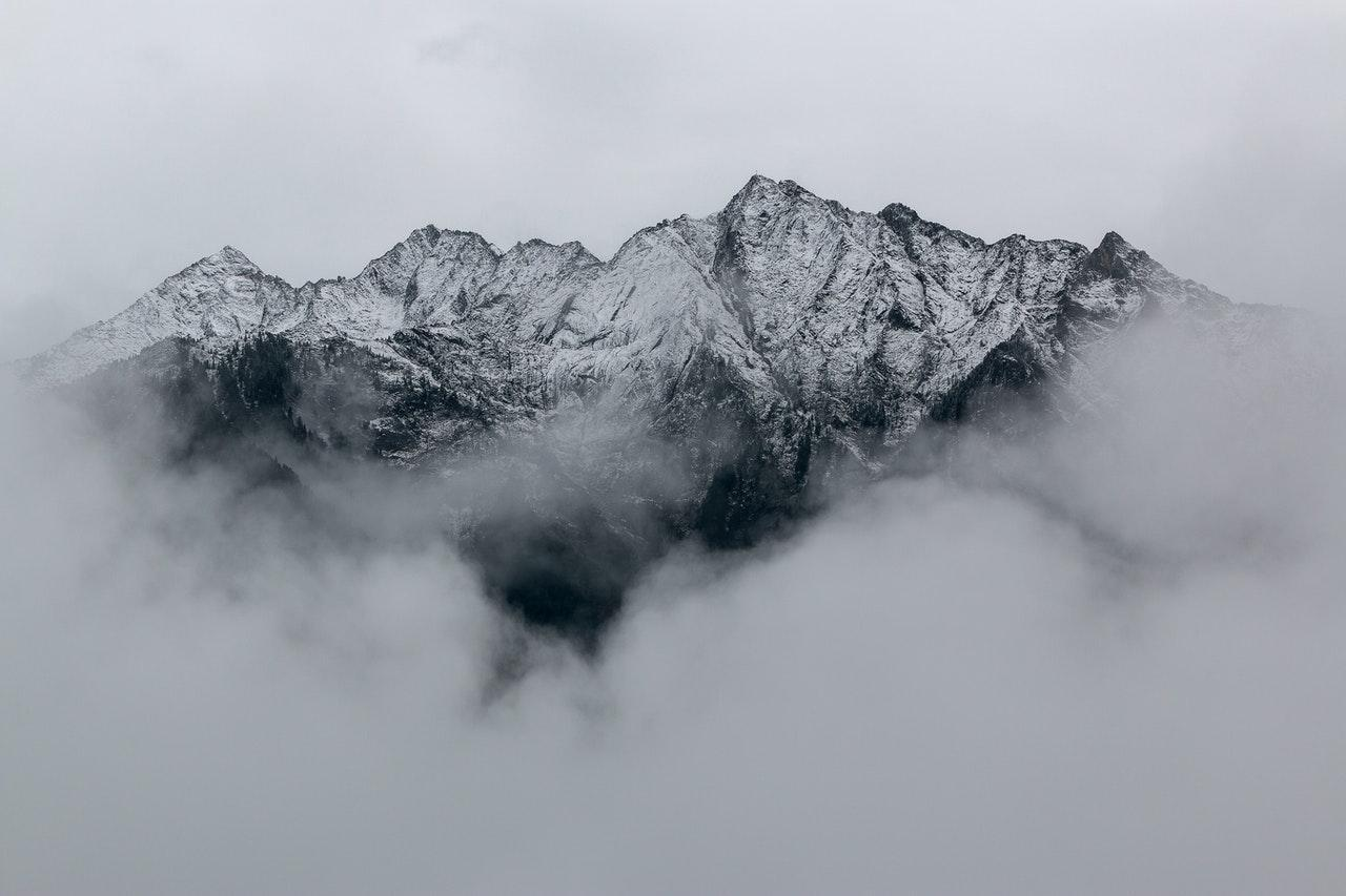 Surreal foggy mountains