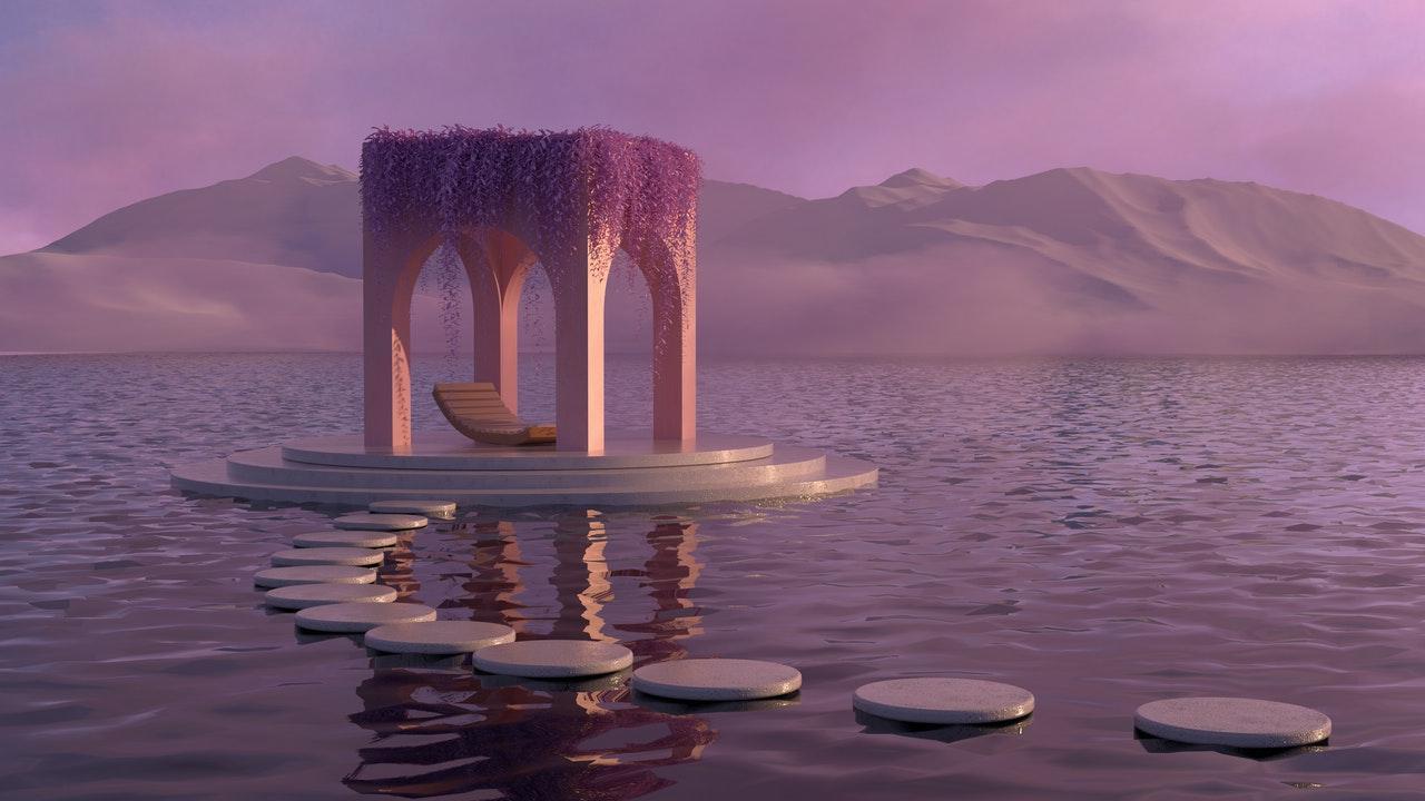 Surreal pavilion on the sea