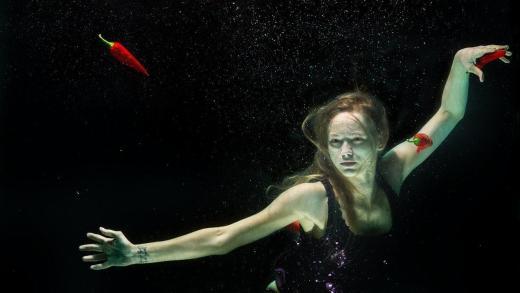 Woman underwater surrealistic image